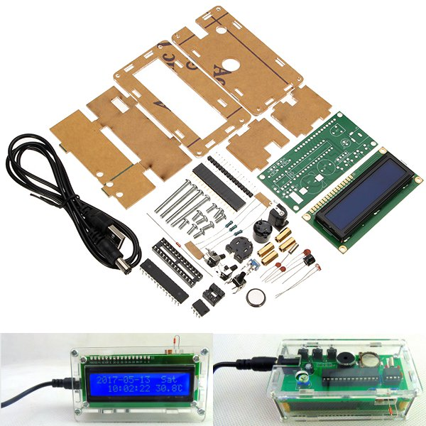 LCD 1602 DC 5V DIY Electronic Clock Kit Temperature Alarm Function